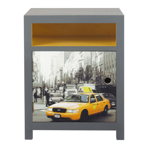 Wooden bedside table in grey and yellow w 44cm cab - Table de chevet new york ...