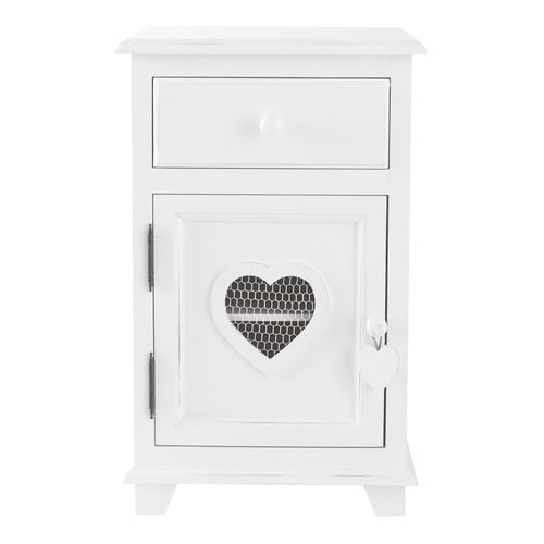 Wooden bedside table with drawer in white w 40cm valentine for Table de nuit wenge