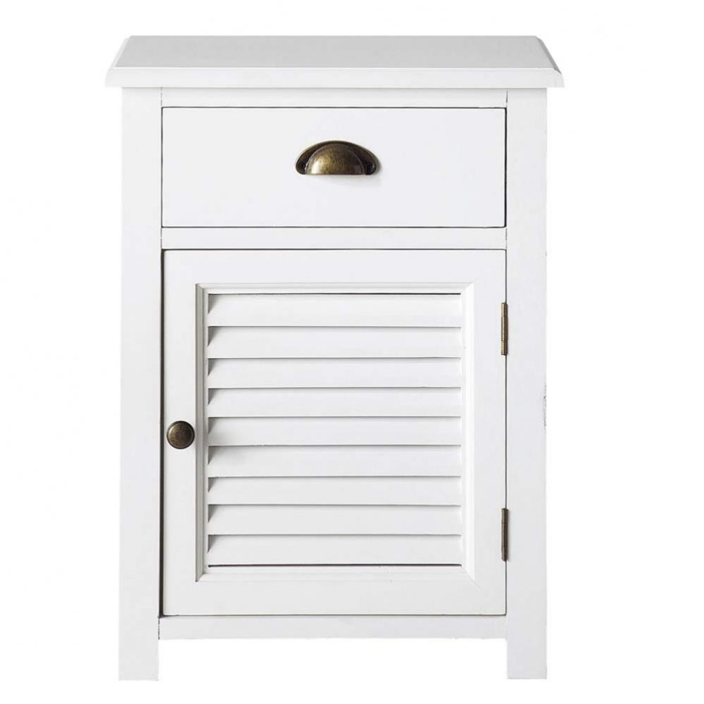 Wooden Bedside Table With Drawer In White W 45cm Maisons Du Monde