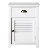 Wooden bedside table with drawer in white W 45cm Barbade