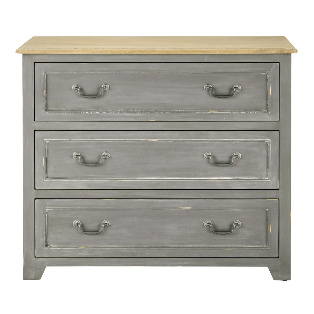 Wooden chest of drawers grey W 95cm