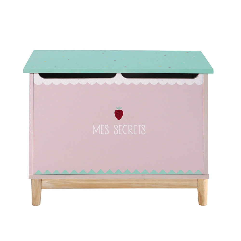 Wooden childs toy chest in pink W 70cm