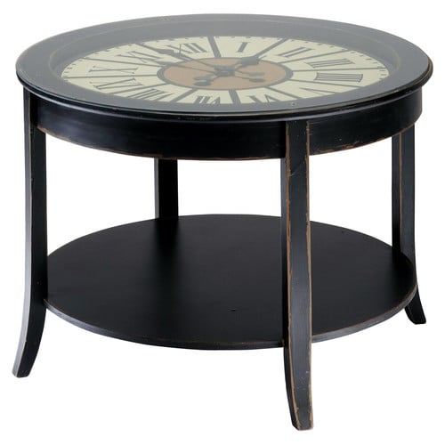 Wooden Clock Coffee Table In Black W 72cm Teatime Maisons Du Monde