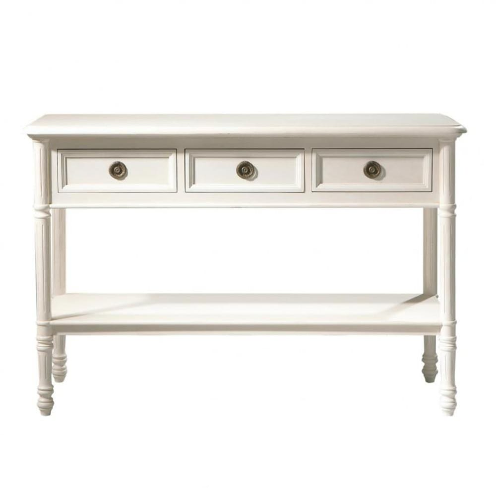 Wooden console table in ivory w 120cm maisons du monde geotapseo Choice Image