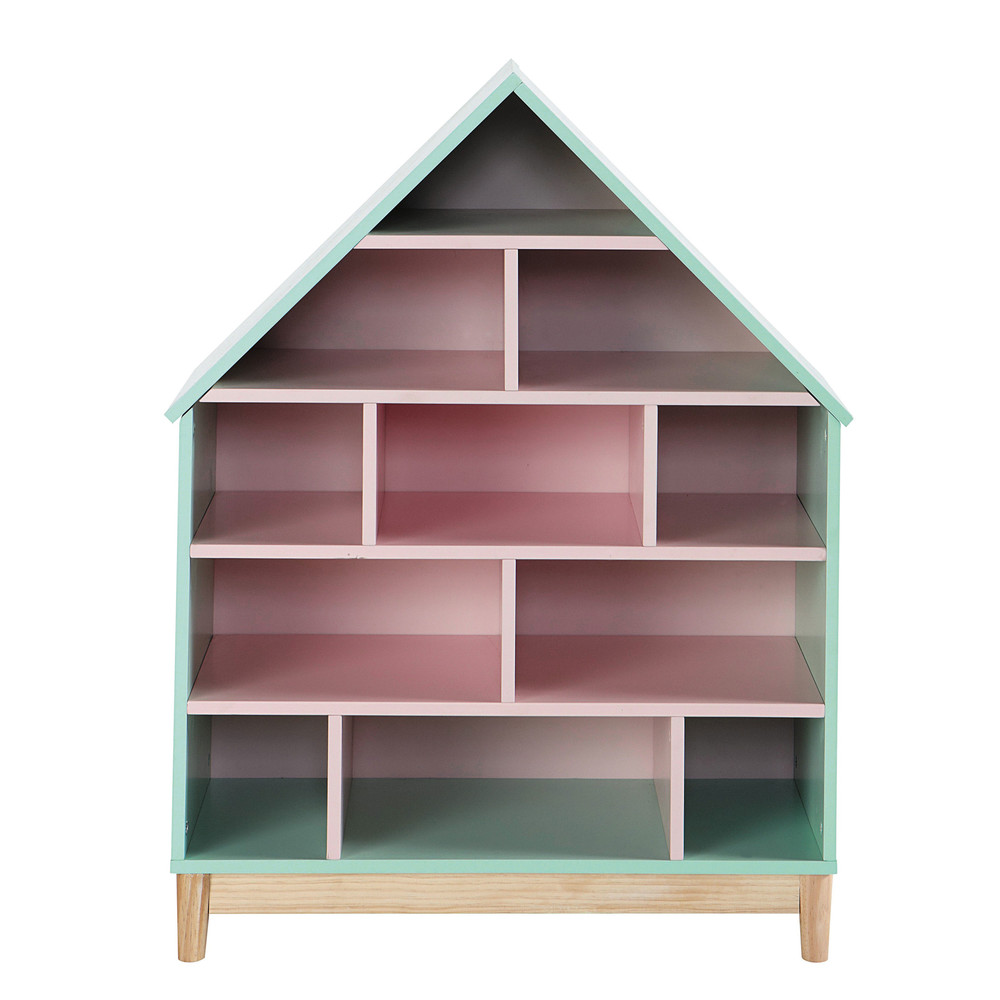 Wooden dolls house bookcase in pink W 75cm