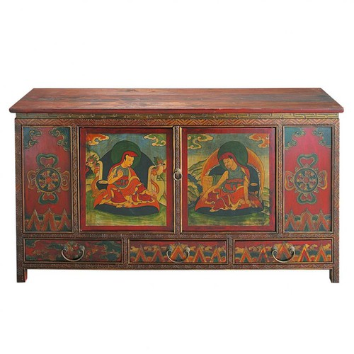 Wooden indian cabinet multicoloured w 120cm lhasa for Sideboard indisch