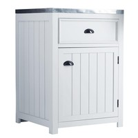 Wooden Kitchen Base Unit in White, Left-Opening W60