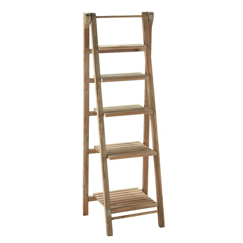 wooden ladder shelf unit w 46cm freeport maisons du monde. Black Bedroom Furniture Sets. Home Design Ideas