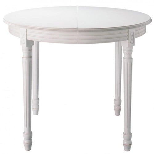 Wooden round extending dining table in white d 120cm louis for 120cm extending dining table
