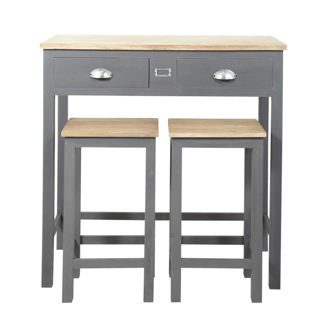 Wooden tall dining table  2 stools W 90cm