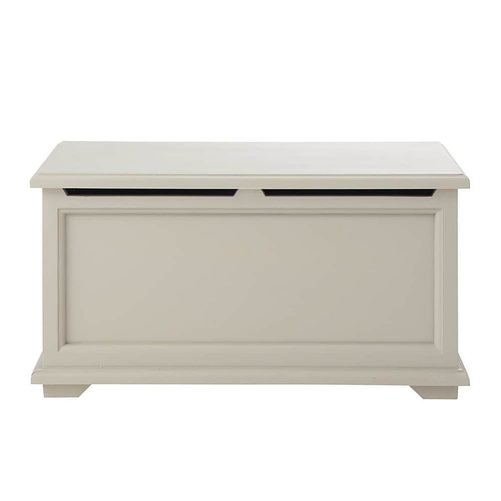 Wooden toy chest in taupe W 90cm