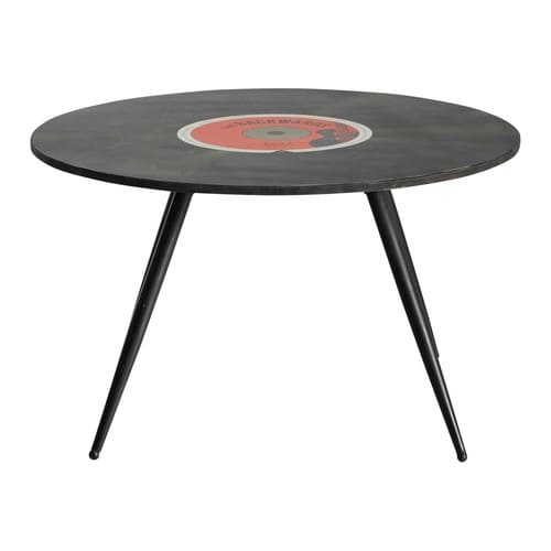 wooden vintage round coffee table in black d 70cm vinyl maisons du monde. Black Bedroom Furniture Sets. Home Design Ideas