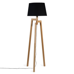 WOODSTOCK wooden and black fabric tripod floor lamp, H 150cm