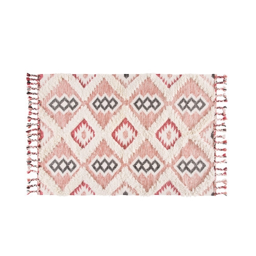 Woven Rug with Terracotta Graphic Motifs 160x230