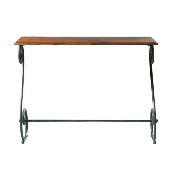 Wrought iron and solid sheesham wood console table W 100cm ...