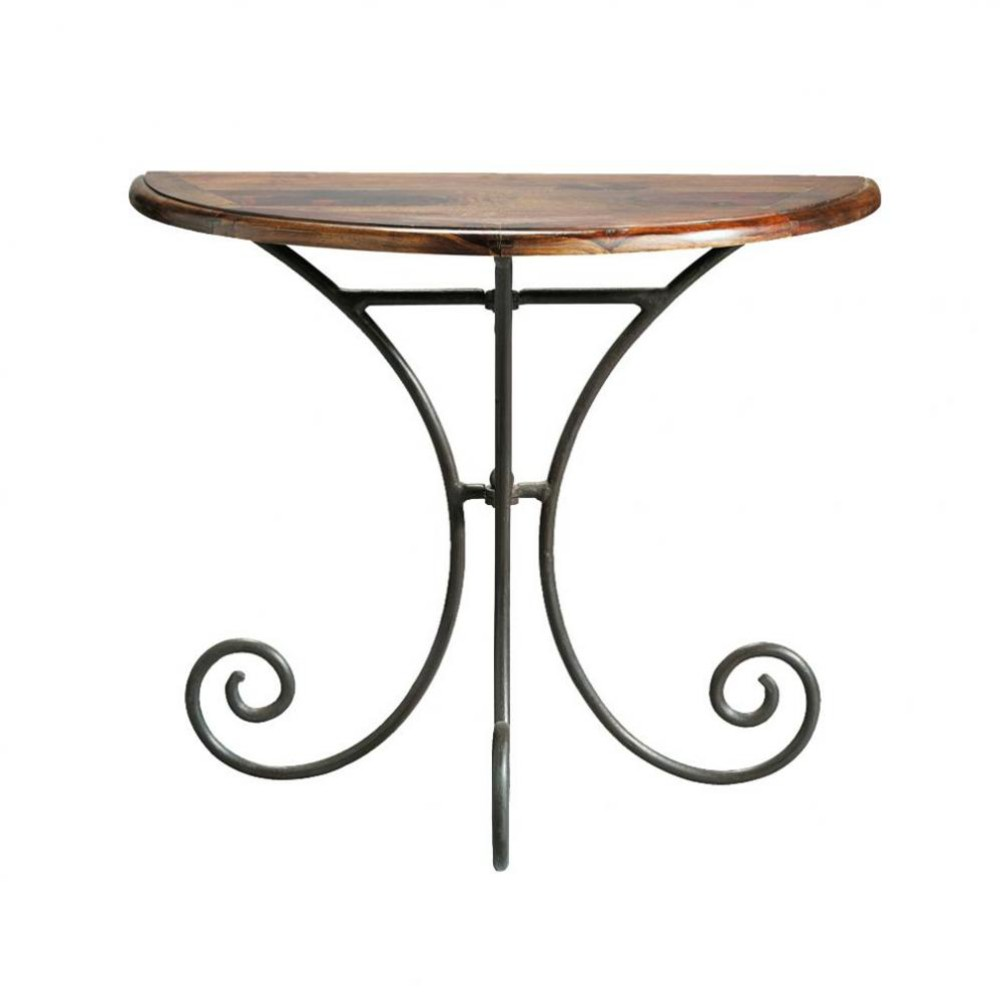 Wrought iron and solid sheesham wood halfmoon console table W 90cm