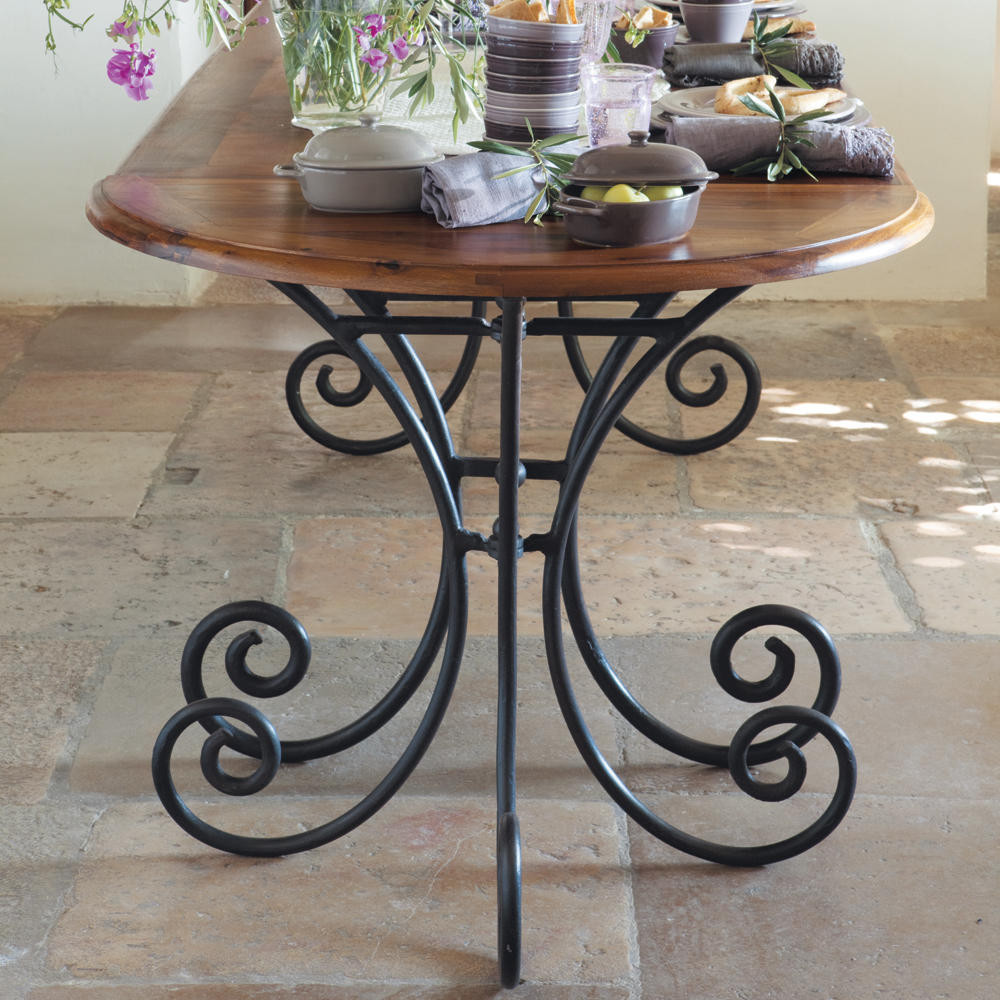 Wrought Iron And Solid Sheesham Wood Half Moon Console Table W 90cm |  Maisons Du Monde