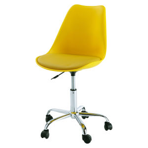 Yellow office chair with casters
